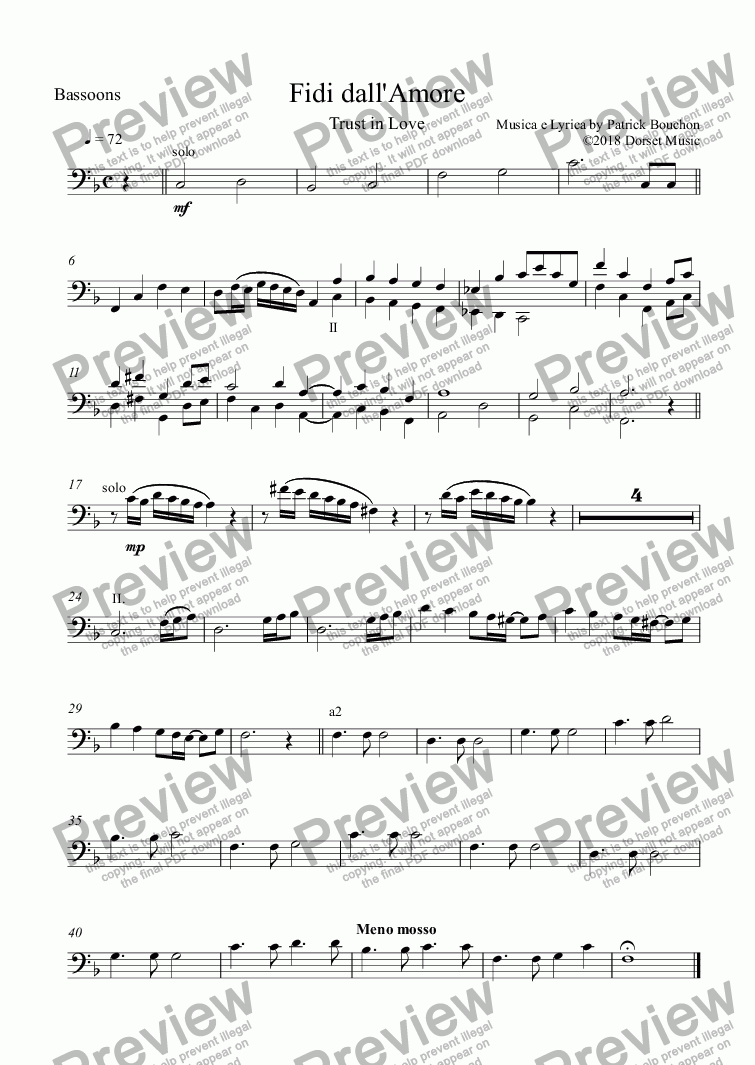 page one of the Bassoons part from Fidi dall'Amore (Trust in Love) for Vocal Duet and Orchestra
