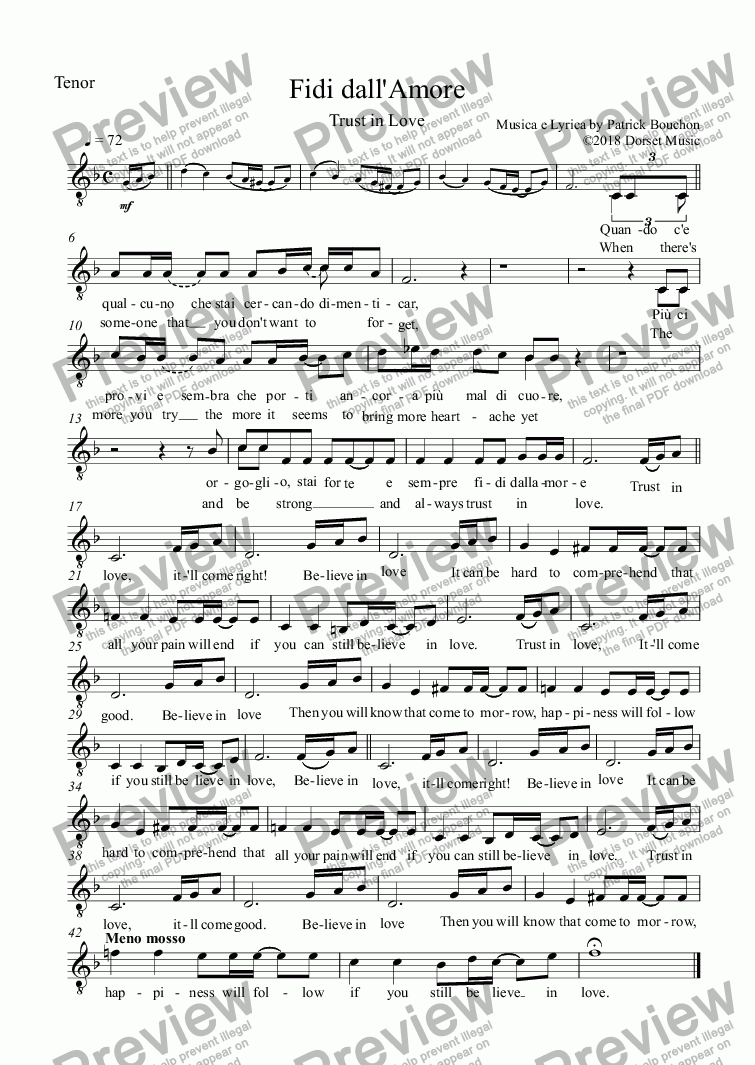 page one of the Tenor part from Fidi dall'Amore (Trust in Love) for Vocal Duet and Orchestra