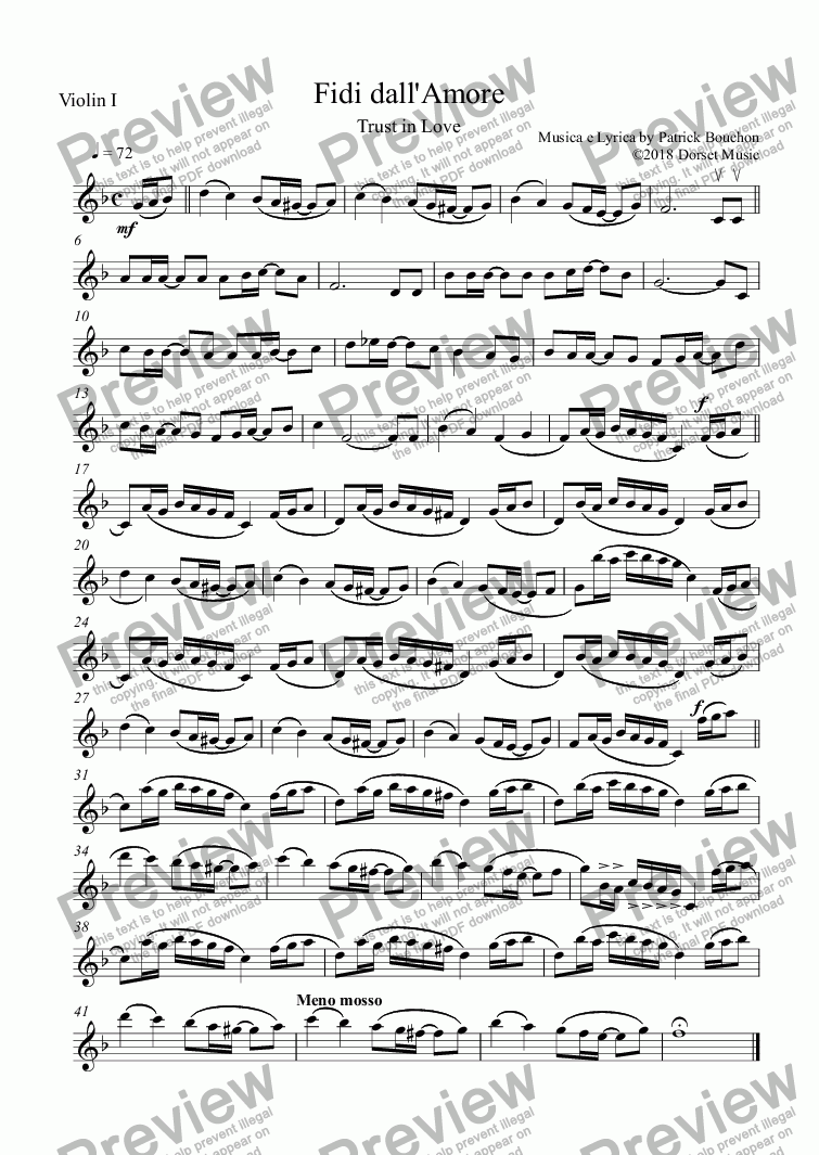 page one of the Violin I part from Fidi dall'Amore (Trust in Love) for Vocal Duet and Orchestra