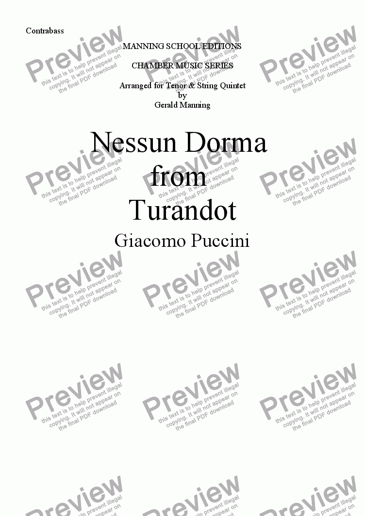 page one of the Contrabasso part from PUCCINI, G. - Nessun Dorma from Turandot - arr. for Tenor & String Quintet by Gerald Manning