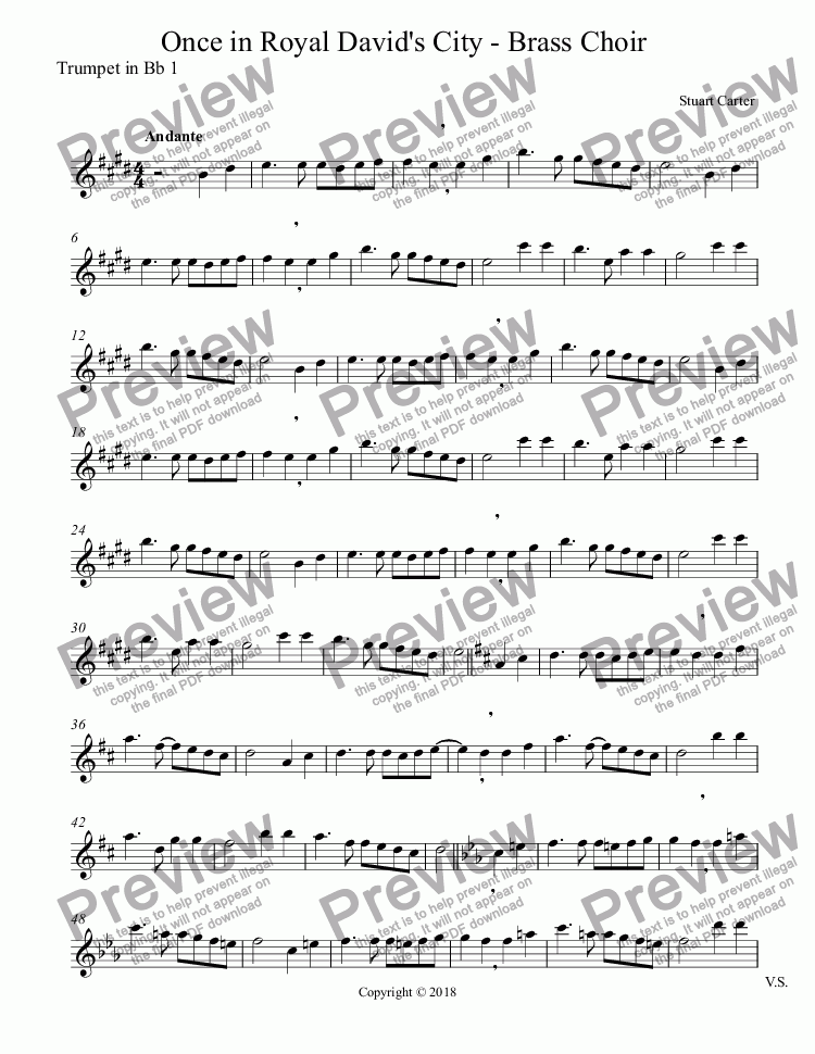 page one of the Trumpet in Bb 1 part from Once in Royal David's City - Brass Choir
