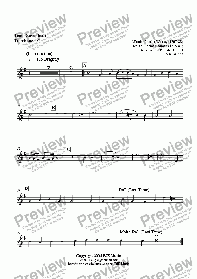 page one of the Tenor Sax -Trombone TC part from O For A Thousand Tongues (Lyngham) - Mixed Ensemble