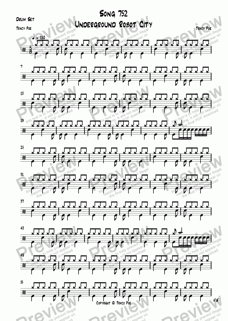 page one of the Drum Set part from Song 752 Underground Robot City