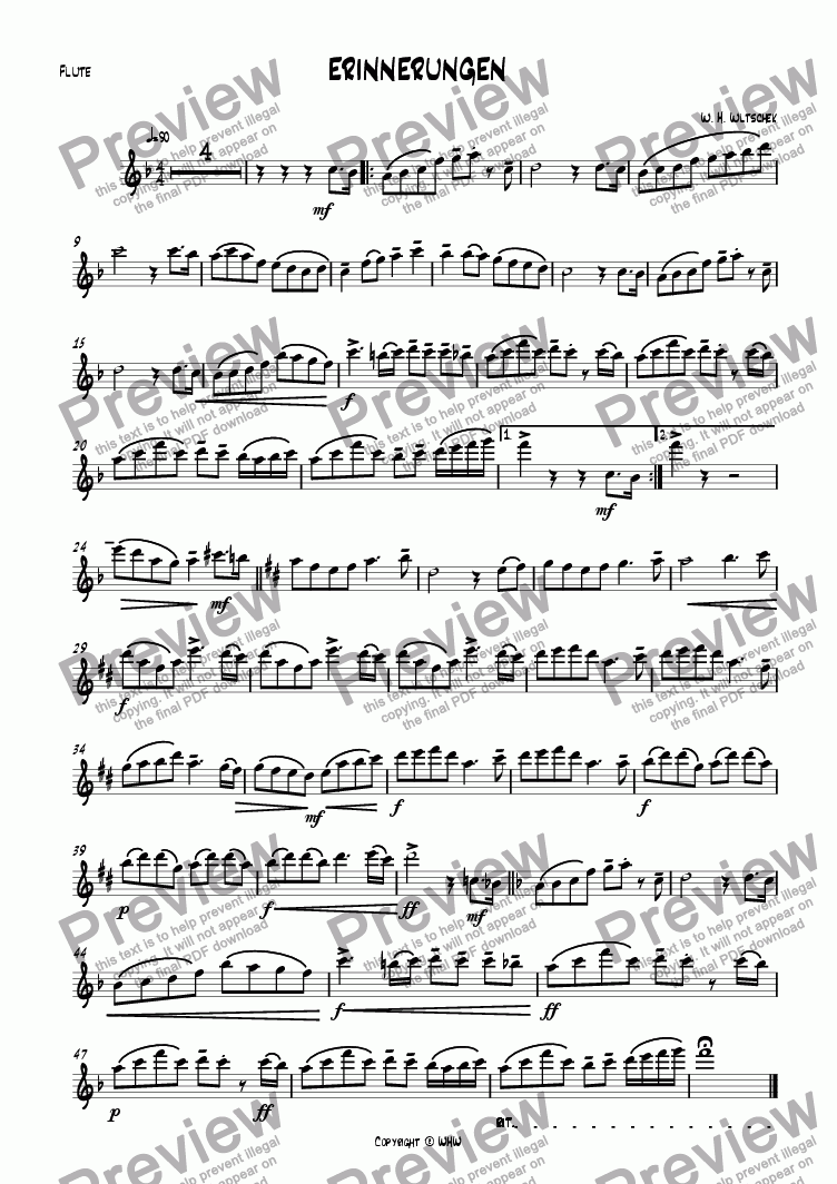 page one of the Flute C part from ERINNERUNGEN