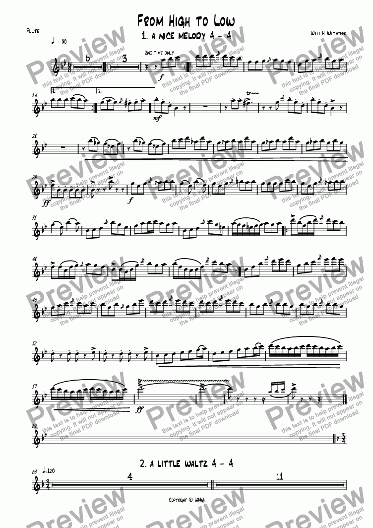 page one of the Flute C part from FROM HIGH TO LOW
