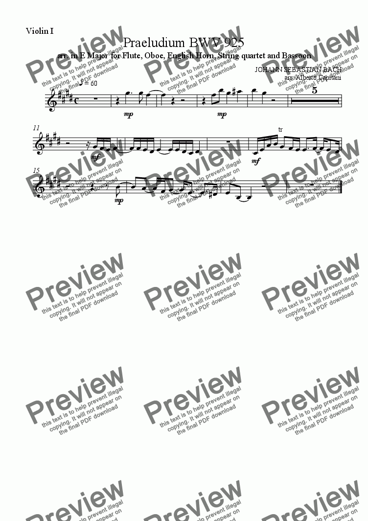 page one of the Violin I part from Praeludium BWV 925 - arr. in E Major for Flute, Oboe, English Horn, String quartet and Bassoon
