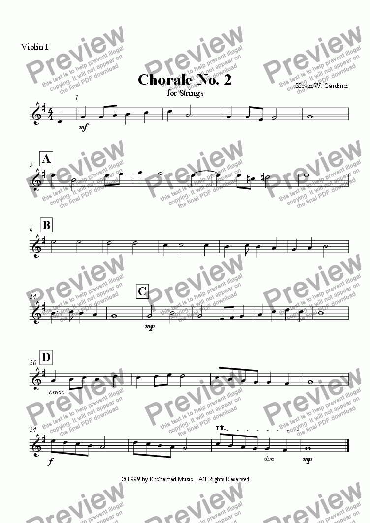 page one of the Violin 1 part from Chorale No. 2 in G Major