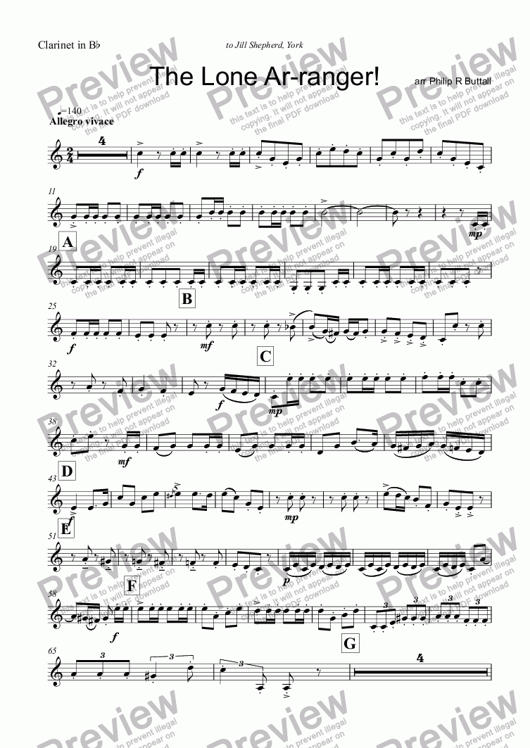 page one of the Clarinet in Bb part from The Lone Ar-ranger! (Woodwind Quartet)