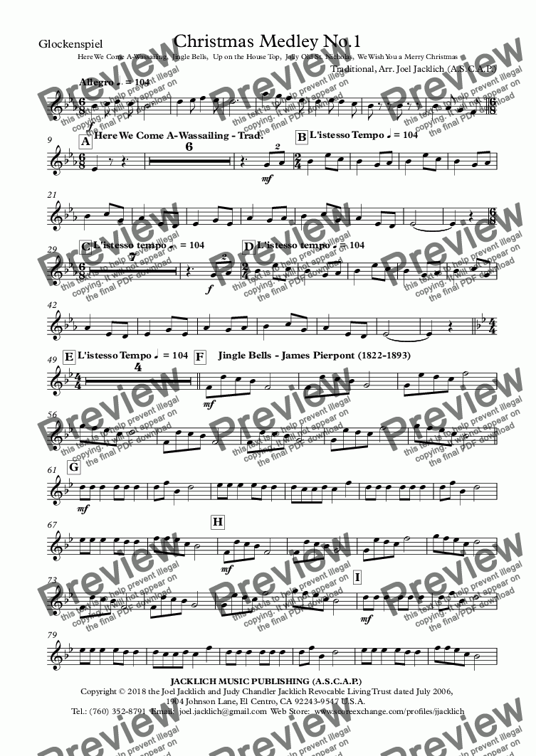 page one of the Glockenspiel part from Christmas Medley No.1 - Here We Come A-Wassailing,  Jingle Bells,  Up on the House Top,  Jolly Old St. Nicholas,  We Wish You a Merry Christmas
