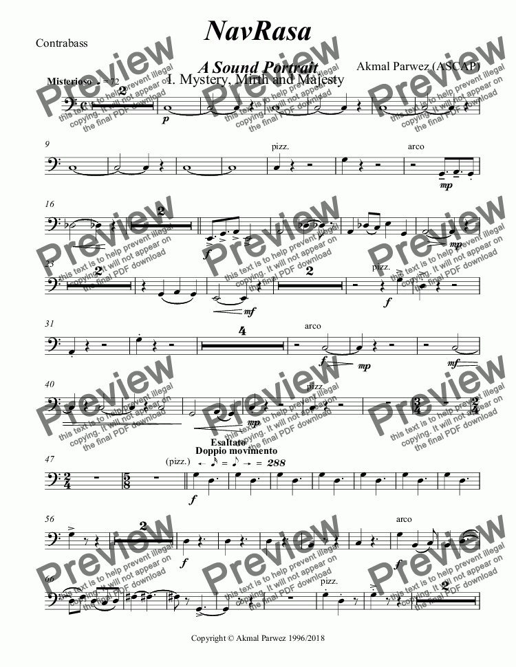 page one of the Contrabass part from NavRasa A Sound Portrait