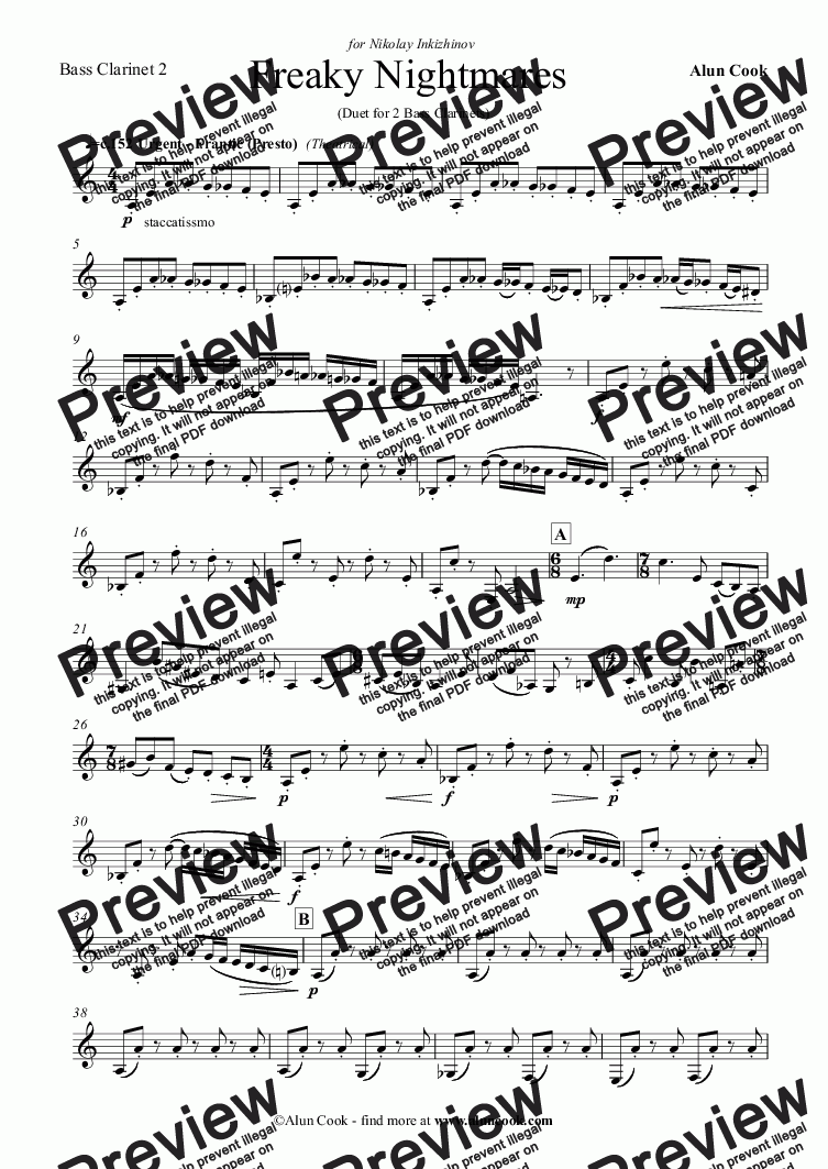 page one of the Bass Clarinet 2 part from Freaky Nightmares (duet for 2 Bass Clarinets)