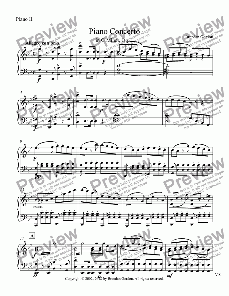 page one of the Piano II part from Piano Concerto in G Minor, complete 2-piano score
