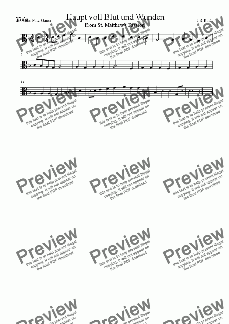 "page one of the Viola part from ""Haupt voll Blut und Wunden"" From St. Matthew's Passion  - Download sheet music"