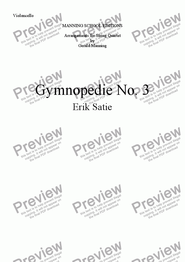 page one of the Violoncello part from Satie, E. - Gymnopedie No. 3 - arr. for String Quartet by Gerald manning