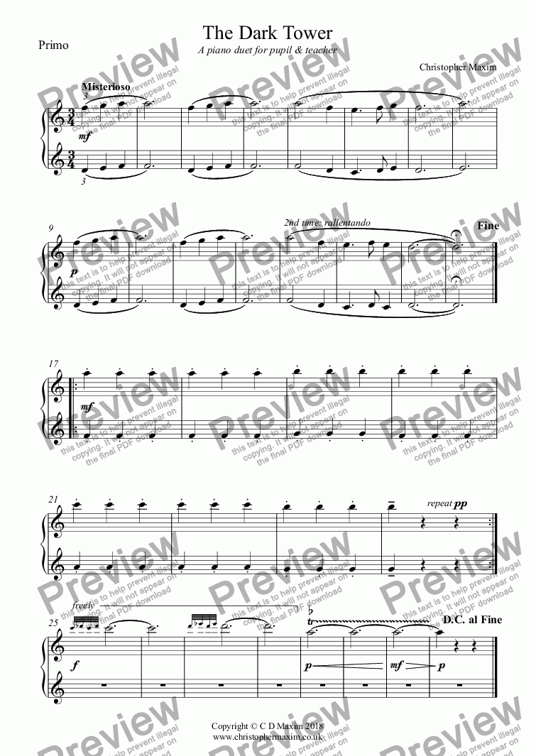 page one of the Primo part from The Dark Tower (piano duet for pupil & teacher)