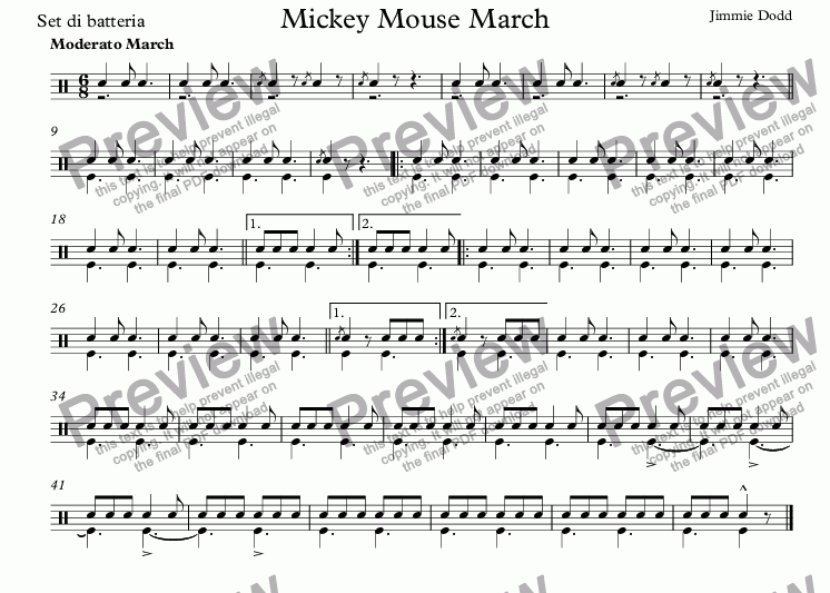 page one of the Set di batteria part from Mickey Mouse March