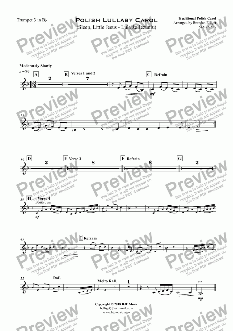 page one of the Trumpet 3 in B^b part from Polish Lullaby Carol (Sleep, Little Jesus - Lulajże Jezuniu) - Concert Band