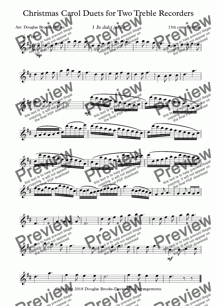 page one of the Treble Recorder 1 part from Brooks-Davies, Douglas (arr.): Christmas Carol Duets for Two Alto Recorders