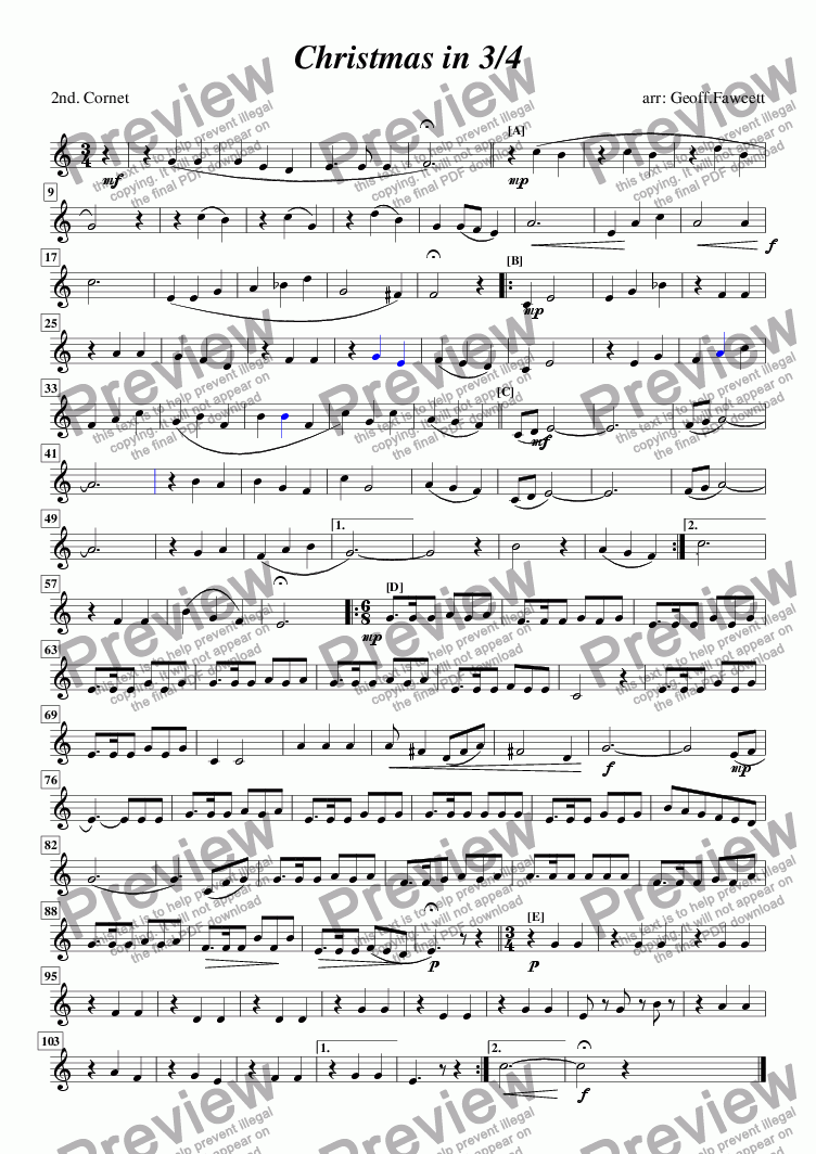 page one of the 2nd cornet part from Christmas in 3/4