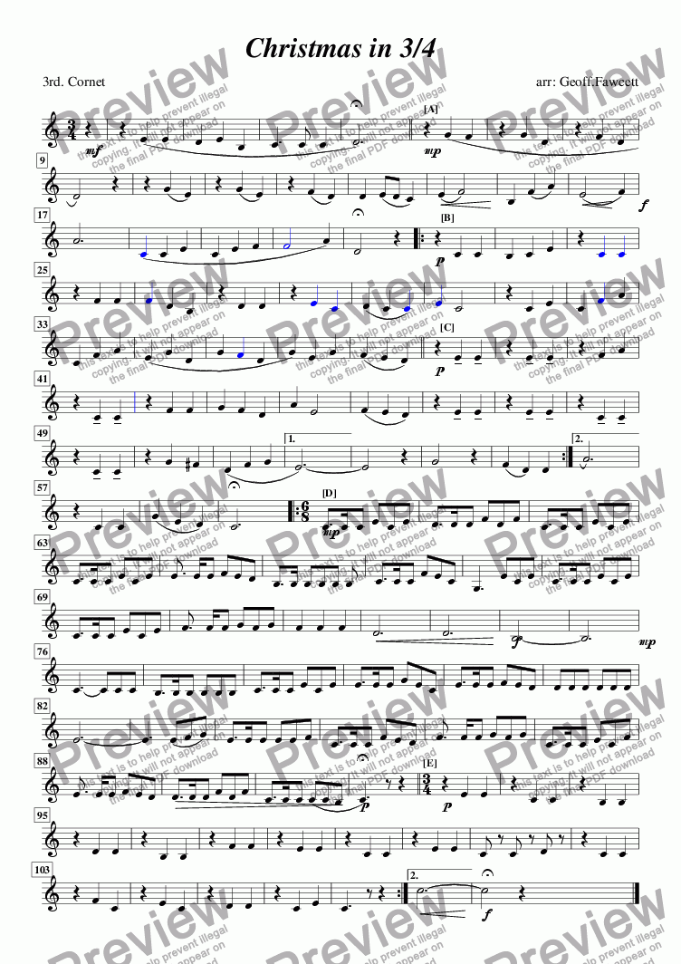 page one of the 3rd cornet part from Christmas in 3/4