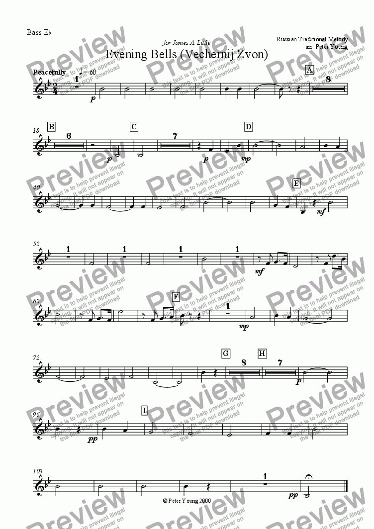page one of the Eb Bass part from Evening Bells (Vechernij Zvon) - Solo Eb Bass and Brass Band