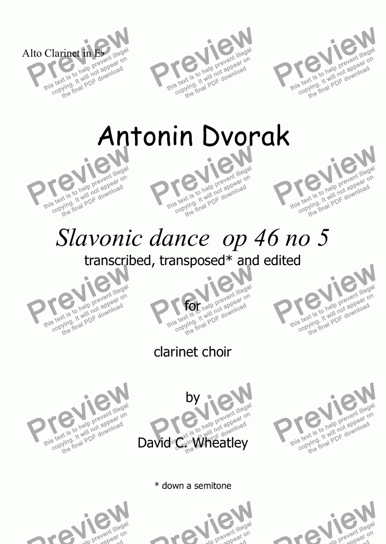 page one of the Alto Clarinet in Eb part from Dvorak - Slavonic dance op 46 no 5 for clarinet choir transcribed by David Wheatley