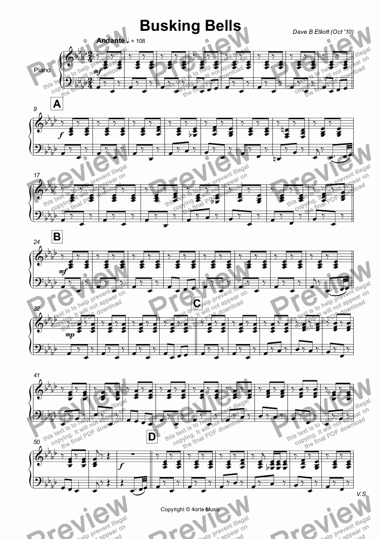 page one of the Piano part from Busking Bells