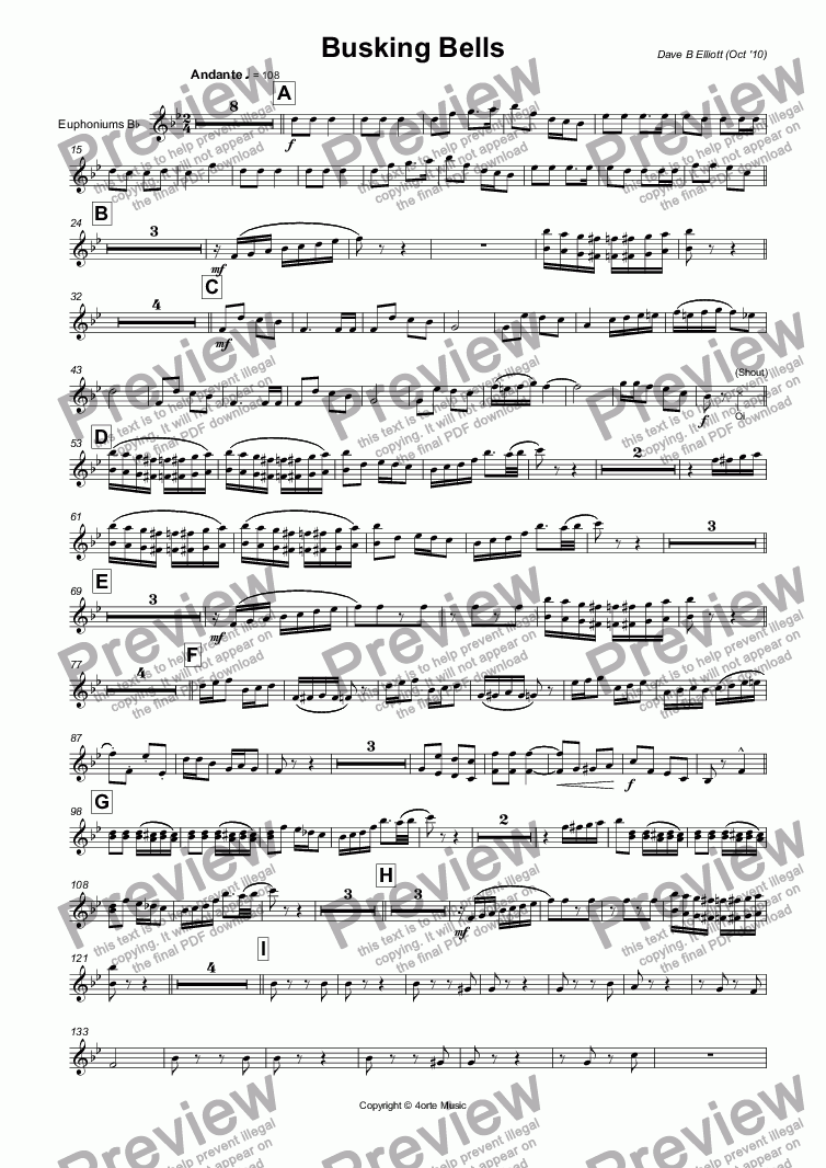 page one of the Euphoniums B^b part from Busking Bells