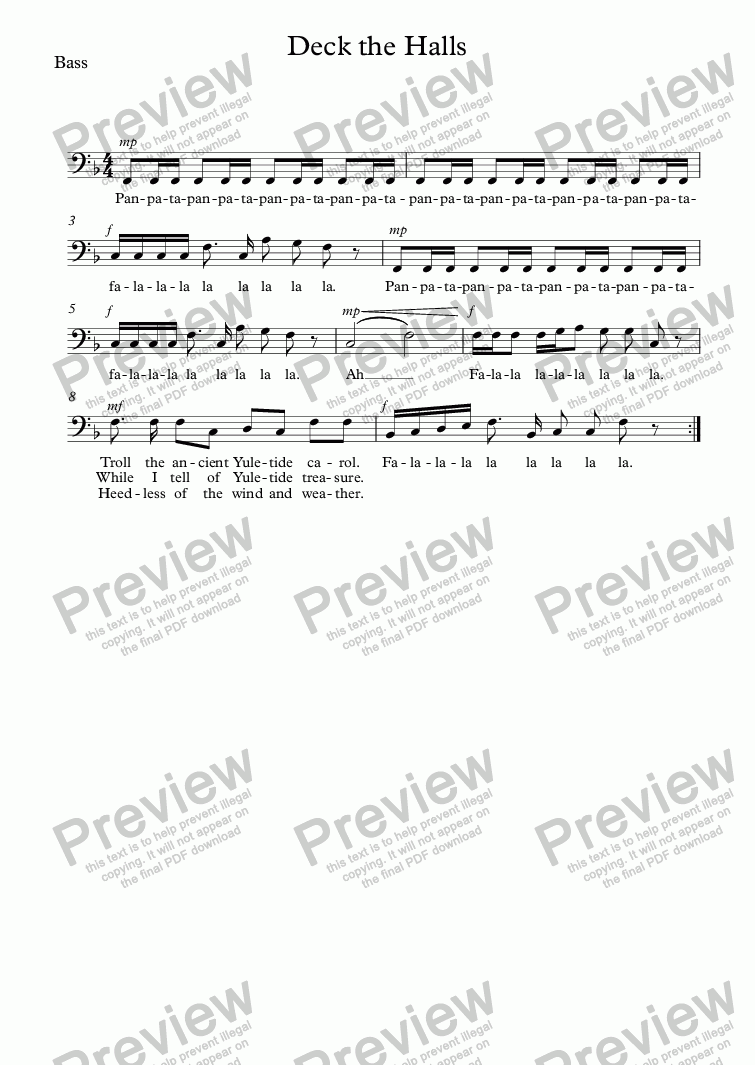 page one of the Bass part from Deck the Halls