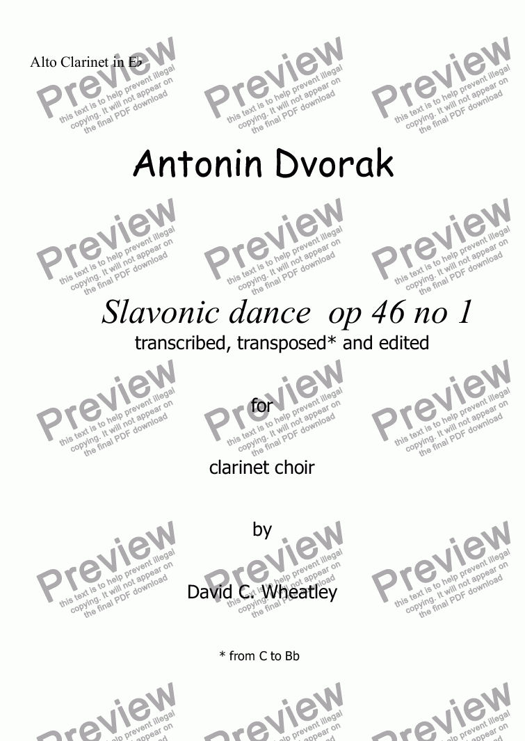 page one of the Alto Clarinet in Eb part from Dvorak - Slavonic dance op 46 no 1 for clarinet choir transcribed by David C Wheatley