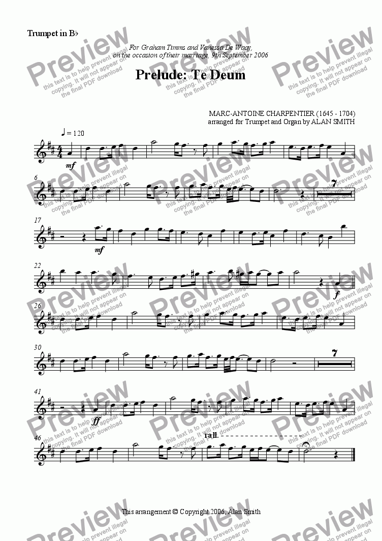 page one of the Trumpet part from Prelude: Te Deum (Charpentier) (Trumpet & Organ)