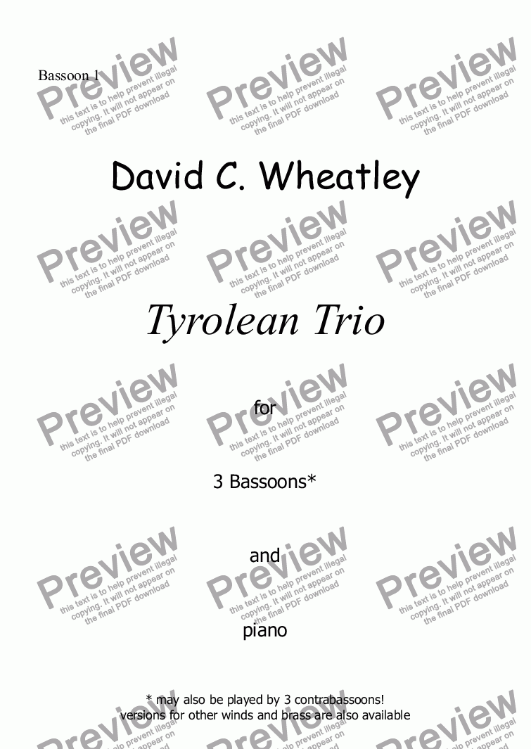 page one of the Bassoon 1 part from Tyrolean Trio for 3 bassoons and piano by David Wheatley