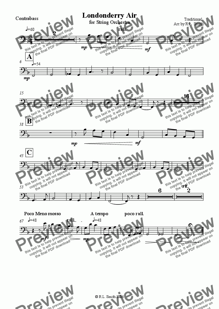 page one of the Basses part from Londonderry Air for String Orcherstra