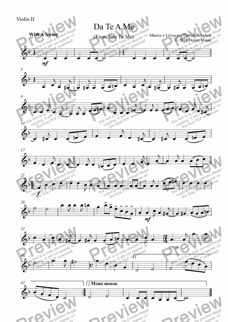 page one of the Violin II part from Da Te A Me (From You To Me) for Vocal Duet and Orchestra