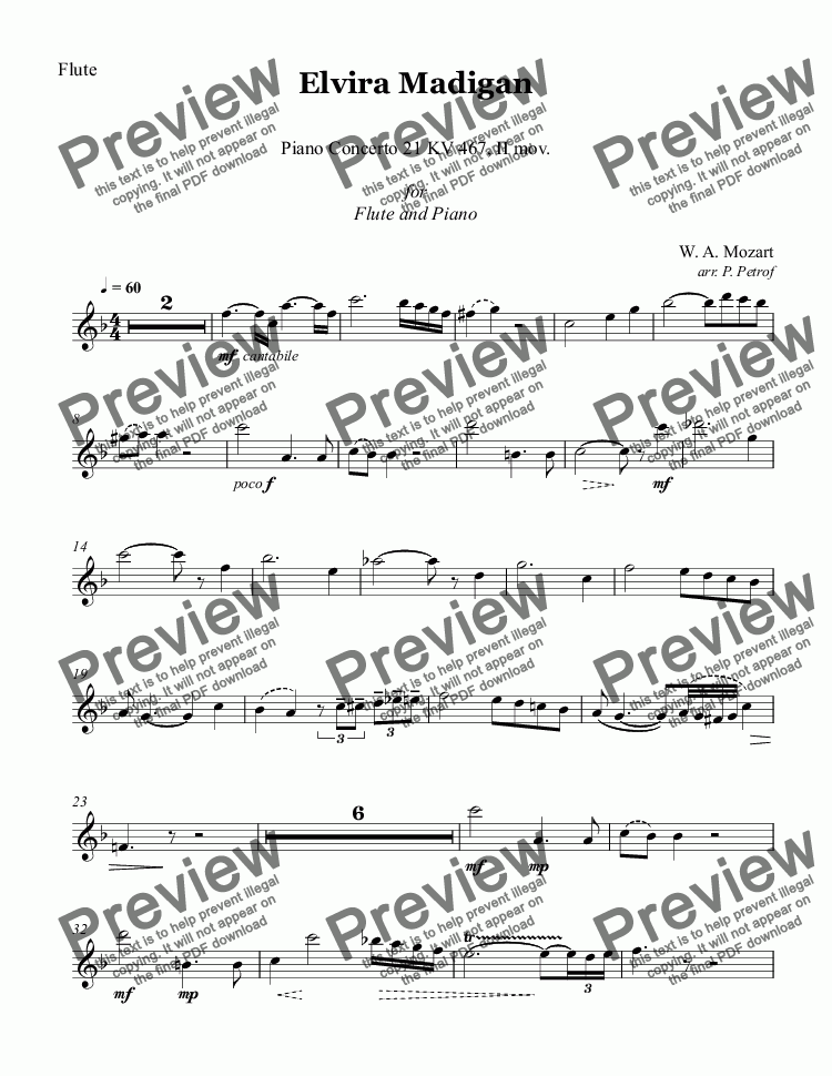 page one of the Flute part from MOZART - Elvira Madigan, Piano Concerto No.21 KV 467, II mov. - Flute and Piano