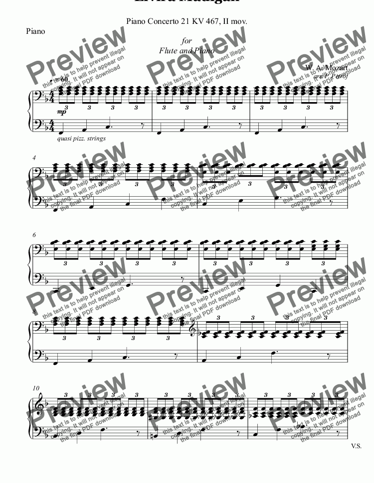 page one of the Piano part from MOZART - Elvira Madigan, Piano Concerto No.21 KV 467, II mov. - Flute and Piano