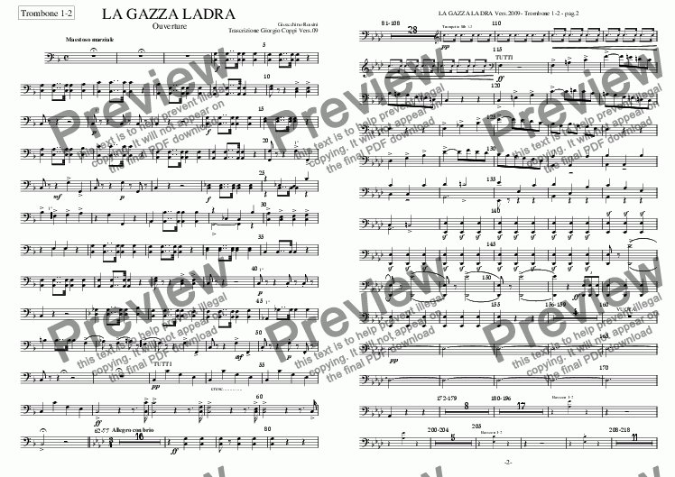 page one of the 018 - Gazza Ladra  - Trombones 1-2 part from Gazza Ladra - Ouverture