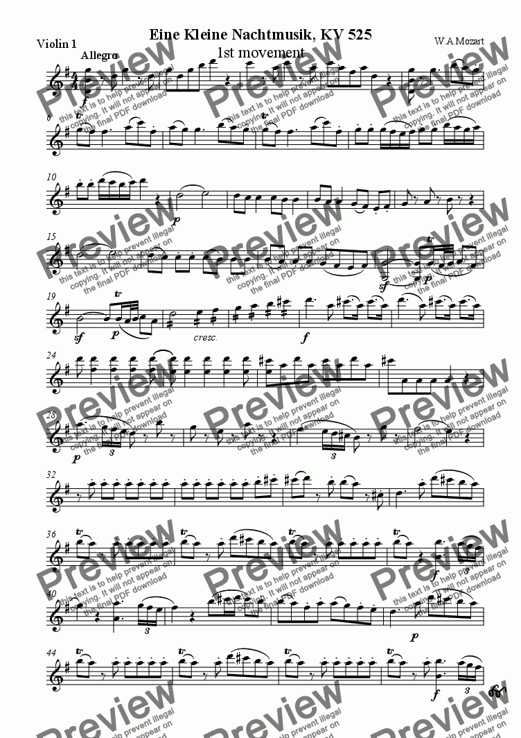 page one of the Violin I part from Eine Kleine Nachtmusik, KV 525