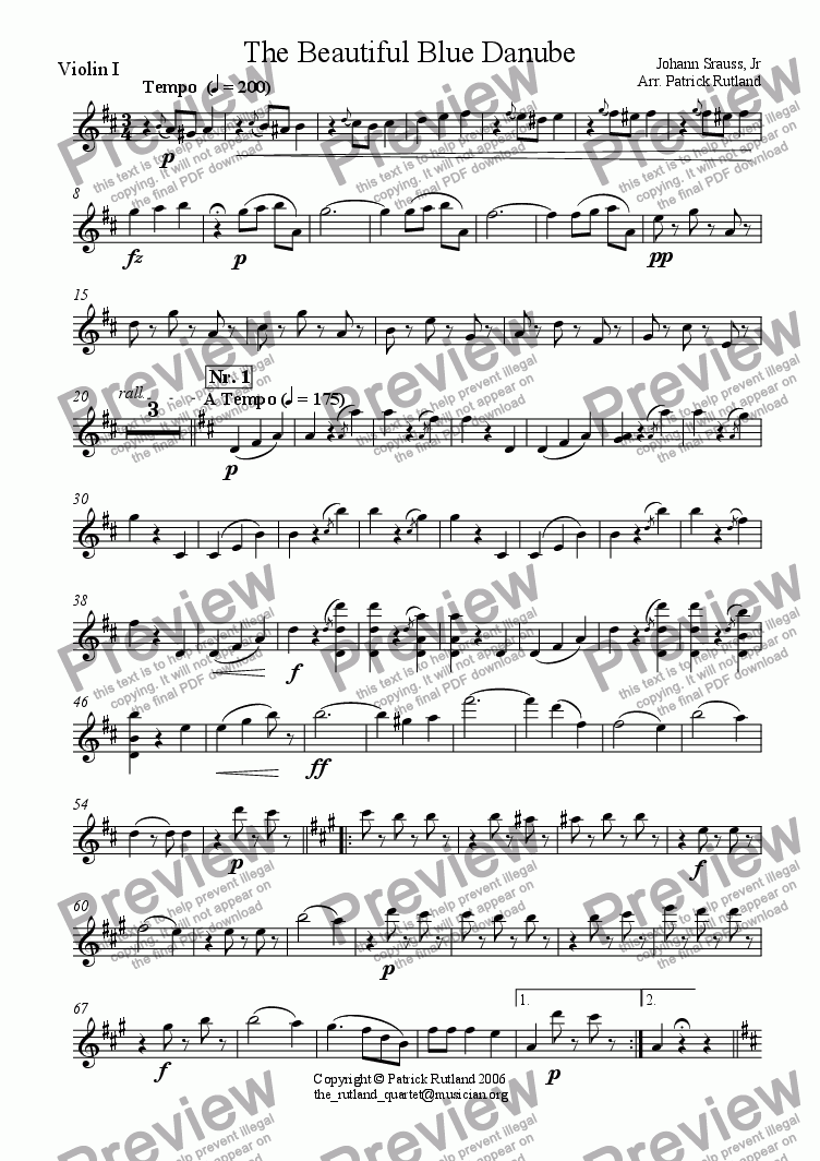 page one of the Violin 1 part from The Blue Danube Strauss