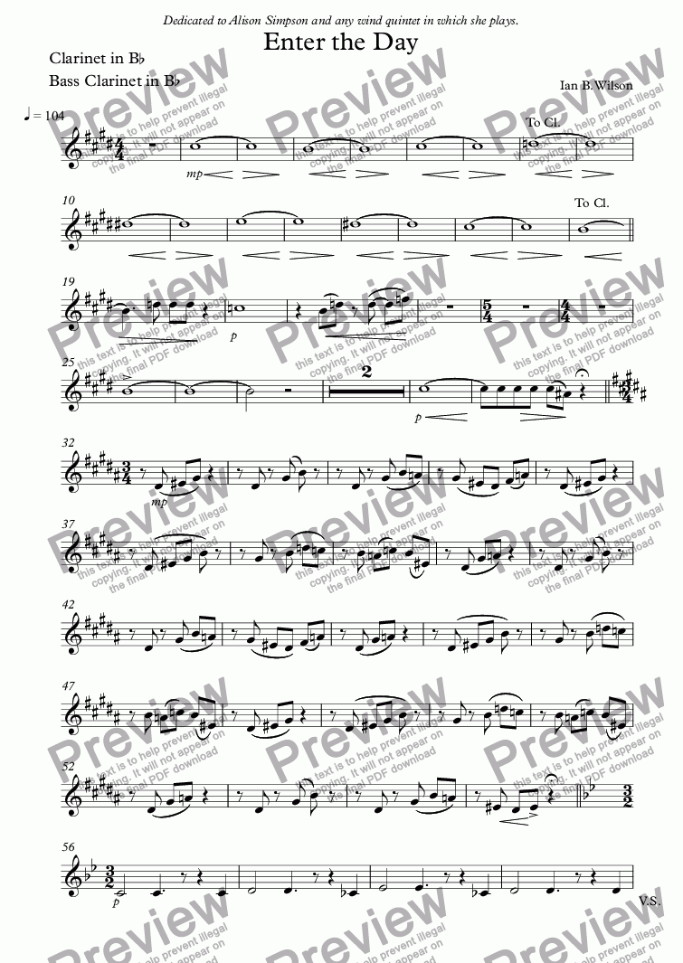 page one of the Clarinet in B^b, Bass Clarinet in B^b part from Enter the Day