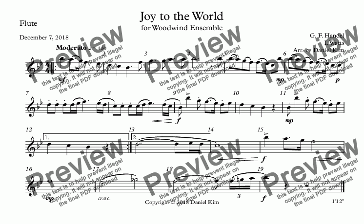 page one of the Flute part from Joy to the World