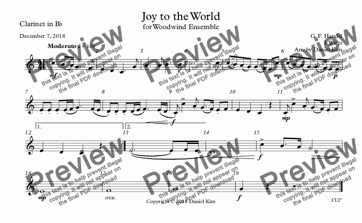 page one of the Clarinet in B^b part from Joy to the World