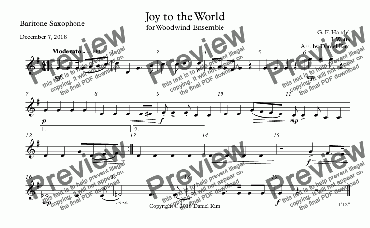 page one of the Baritone Saxophone part from Joy to the World