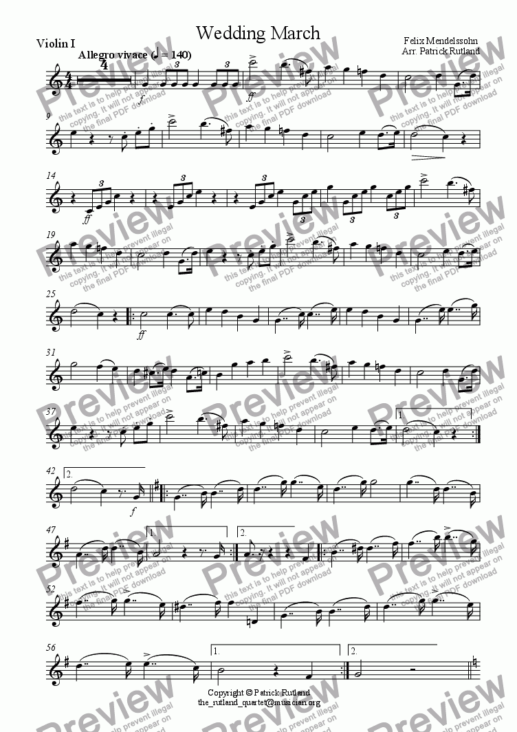 page one of the Violin 1 part from Wedding March