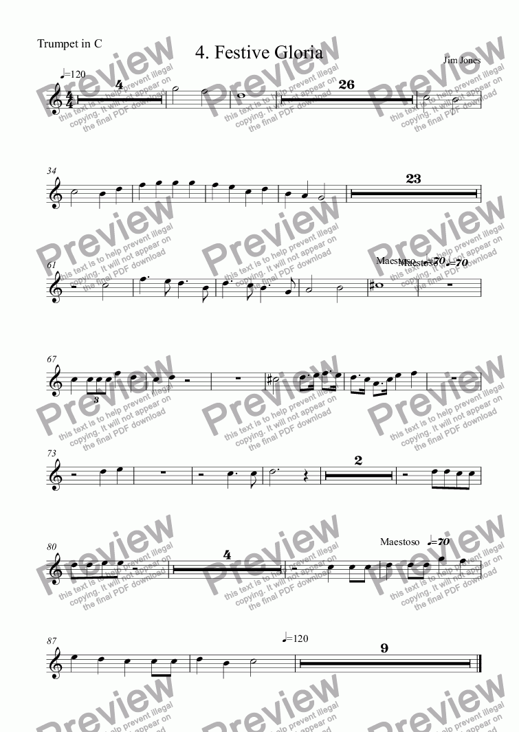 page one of the Trumpet in C part from 4. Festive Gloria