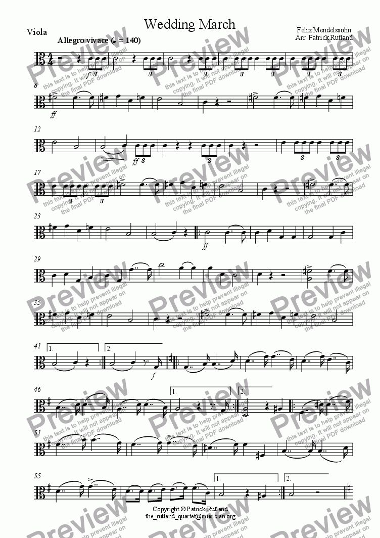 page one of the Viola part from Wedding March