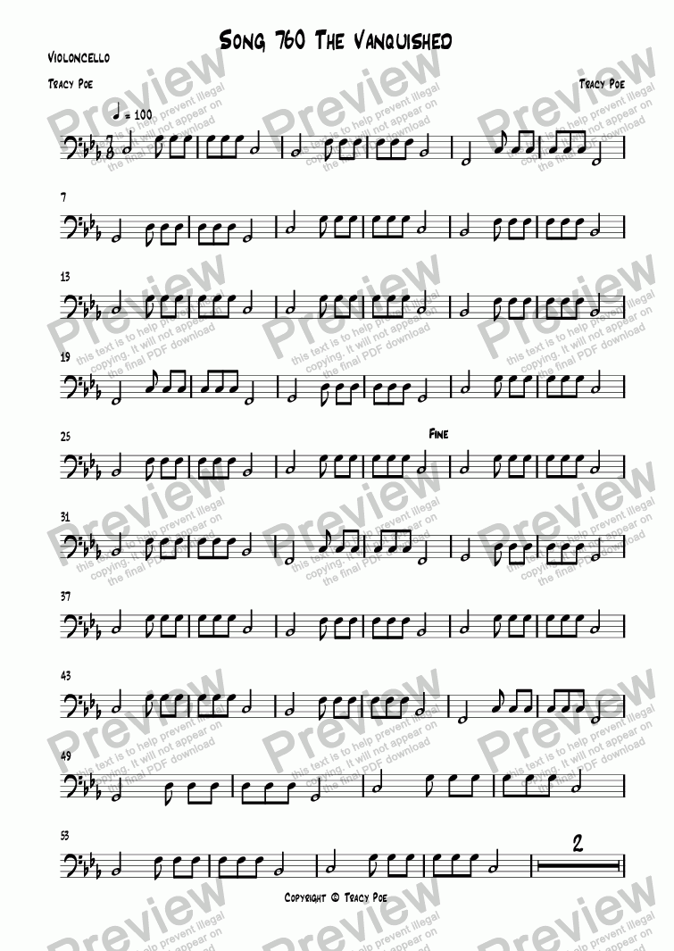 page one of the Violoncello part from Song 760 The Vanquished
