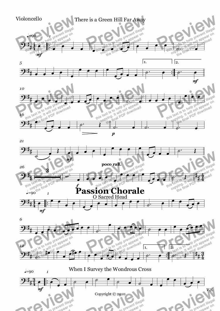 page one of the Violoncello part from 10 Easter Hymns for String Quartet with Piano accompaniment