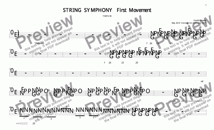 page one of the SS 1st Mov Timpani part from String Symphony 1st Movement