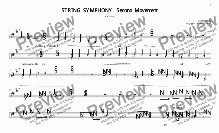 page one of the SS 2nd Mov Violins part from String Symphony 2nd Movment